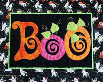 Halloween Quilt Pattern, Table Topper Pattern, Halloween Decor, BOO!