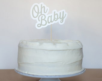 Oh Baby! Cake Topper - Gray
