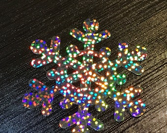 Silver holographic snowflake embellishments / gray