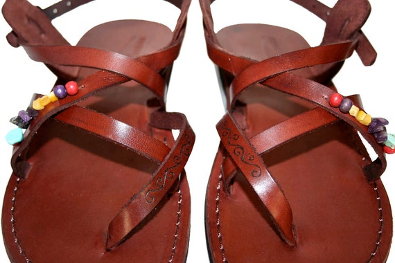 Sandals Flip Unisex Brown Sandals Sandals Genuine Jesus Men Leather Leather Flop Decor Sandals amp; Sandals Handmade Triple For Women OCwSqRO1