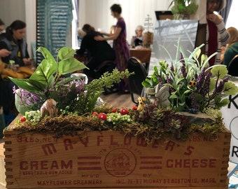 Fairy Garden in Antique Box