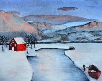 """Winter Reds, a fine art giclee reproduction of an original watercolor painting by Meike Geisler; 11"""" x 7.75"""" ;snowy mountain scene red house"""