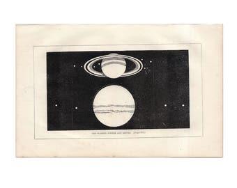 rare! c. 1851 PLANET SATURN & JUPITER - original antique print - graphic black and white astronomy engraving - celestial bodies solar system