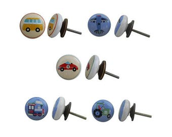Set with 5 x ceramic knob, furniture knob nostalgia / knobs for children