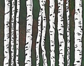 Dark Green Birch Forest (ORIGINAL DIGITAL DOWNLOAD) by Mike Kraus