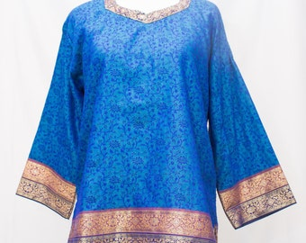 Elegant Blue Cotton Brocade Tunic.  Copper and Black Metallic Border with Gold Stitching with Silver Center