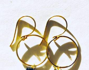 Black spinel Gold hoops, Hoop Earrings, Lilyb444, gifts for her,