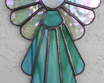 Stained Glass Angel/Green Glass Angel/Glass Suncatcher/Baby Gift/Angel Suncatcher/Christmas Ornament/Religious Gift/Baptism Gift/ #406