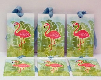 Water Color Art Tags...set of 6 Flamingo Tags...Stamped Art tags...Wedding Tags...Birthday tags...Beach Party tags...Stampin'Up! stamps!