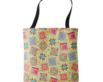 """Quilt Block Art 16"""" x 16"""" Tote Bag, Light Green Background, Colorful Quilt Block Toss, Patchwork Tote, Large Quilter Tote, Quilt Carry All"""