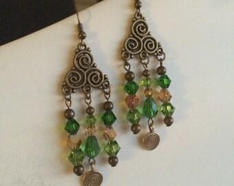 Brass Spiral Dangle Earrings