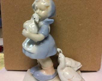 Napco porcelain figurine - girl and geese