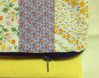 Floral and yellow linen foldover clutch bag