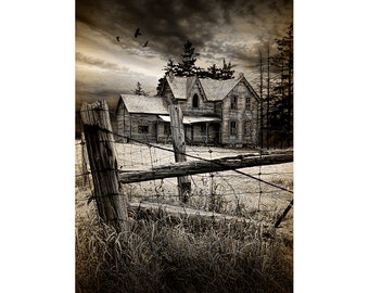 Abandoned House, Farm House, Gothic Crows, Gothic Art, Black Crows, Fence Posts, Ontario Canada, Canada Landscape, Sepia Toned Photograph