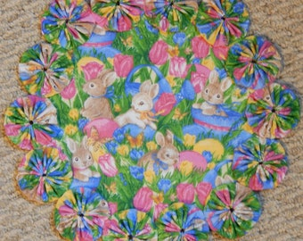 "Colorful Easter Flowers, Bunnies and Eggs 12"" Yo Yo Doily"