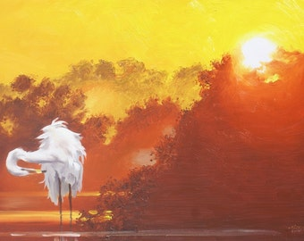 Great White Egret wildlife bird 24x36 (61 x 91.4 cm) oils on canvas painting by RUSTY RUST /  E-197