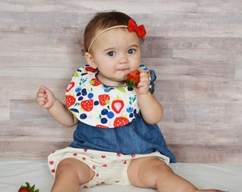 Berries Reversible Cotton and Blue Stripe Gauze Snapable Baby Bib