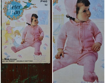 "Vintage Knitting Pattern, 1960's babies knitting pattern, Peter Pan P46, 3 piece Pram set, Coat / Cardigan, leggings, Bonnet, 20""/22"""