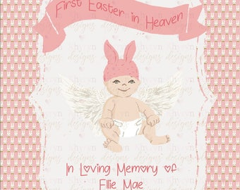 First easter in heaven, easter memorial, personalized baby memorial gift, miscarriage memorial print, in memory of easter gift, infant loss
