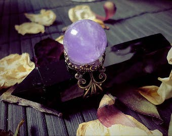 Amethyst Crystal Ball Ring, Crystal Sphere Ring, Fairy Ring, Antique Ring, Witch Ring, Adjustable Ring