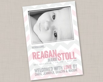 Pink & Gray Chevron birth announcement (GIRL) print your own