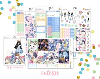 Hoppy Easter- A LA CARTE Vertical Weekly Kit planner stickers- Spring, Bunny