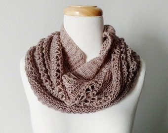 Winter Folk Lace Cowl - Lightweight Version - Hand Knit in Hand Dyed Super Soft Wool in Warm Taupe/Sand. Fall Fashion, Mori Girl, Folk Knit
