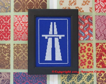 Autovia (Motorway Highway) Road Sign Cross Stitch Kit