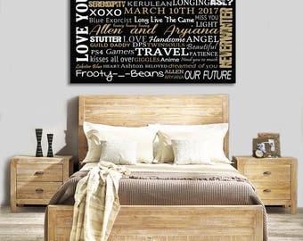 Custom words art canvas, Large words canvas, Personalized words canvas print, Custom canvas made with your words, memories, places, names