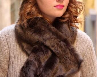 Fake fur scarf. Chocolate brown fur scarf. Brown fur neckwarmer. Chunky cowl. Warm winter cowl. Fur cowl.