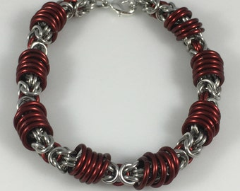 Red and Silver Orbital Byzantine Chainmaille Bracelet chain maille, chainmail, chain mail