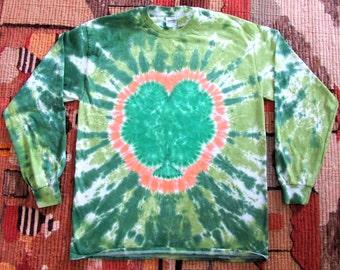 Large Shamrock 4 Leaf Clover Long Sleeve Tie Dye T-shirt - St. Patrick's Day - Ready to Ship