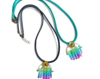 Rainbow Quartz Necklace, Boho Crystal Quartz Necklace, Raw Quartz Necklace, Long Crystal Necklace