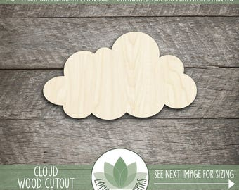 Wood Cloud Shape, Unfinished Wood Cloud Laser Cut Shape, DIY Craft Supply, Many Size Options, Nursery Wall Decor