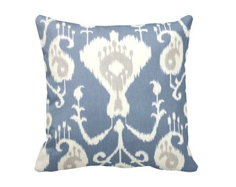 7 Sizes Available: Blue Pillow Cover Decorative Throw Pillow Decorative Pillow Blue Pillow Beige Pillow Ikat Pillow Blue Ikat Pillow