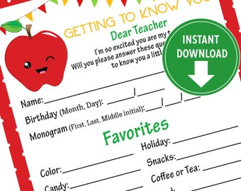 Printable Red Teacher Questionnaire,  Teachers Favorite Things - Teacher Appreciation, Teacher gifts - Instant Download