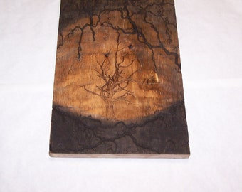 22 x 14 barnwood wall art, fractal, lichtenberg wood burning design