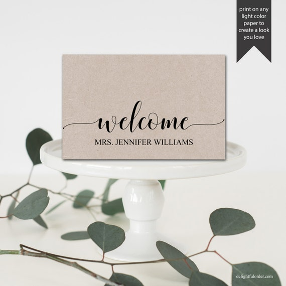 Editable Welcome Table Place Cards Tent Fold Table Setting