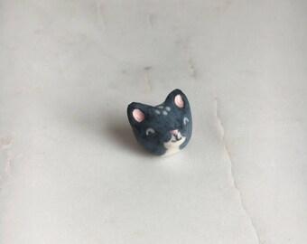 Black & White Kitty Cat Porcelain Magnet
