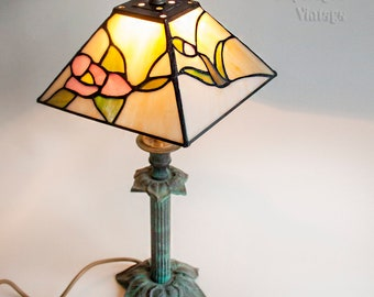 Vintage Small Tiffany Style Stained Glass Table Lamp with Green Verdigris Brass Base in Full Working Order and PAT tested.