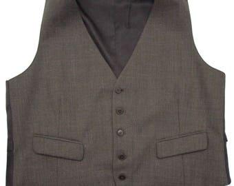 Vintage Brown Wool vest sz 44 ~ WEDDING