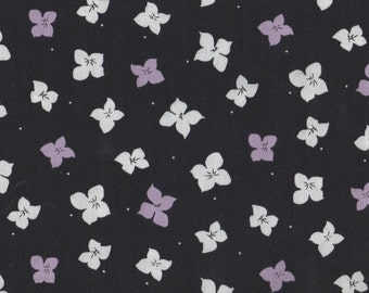 Floral Fabric, Twilight by Quilting Treasures, Purple Floral, Floral, Black Floral, 01349