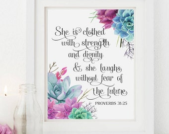 Proverbs 31 25 - She Is Clothed With Strength And Dignity - Nursery Scripture Art - Girl Bible Verse Wall Art
