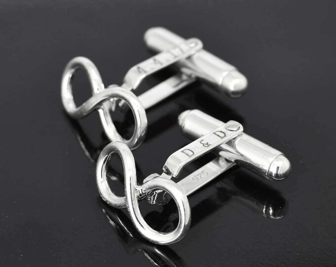 Infinity Cufflinks, Engraved Cufflinks, Mens Accessories, Mens Cufflinks, Groomsmen Gift, Wedding Day Gift, Gift for Him, Fathers Day