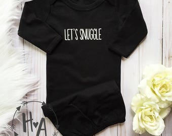 Let's Snuggle (front) Best Snuggles Ever (back) Baby Gown (BLACK) | Newborn Gown / Going Home Outfit / Baby Shower Gift