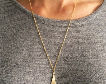 Triangle necklace, long necklace, triangle pendant, gold plated necklace, geometric necklace, minimal necklace, simple necklace, SHAPES