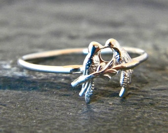 Sterling Silver Lovebird Ring - Love Bird Ring - Love Jewelry - Love Gifts - Bird Ring - Anniversary Jewelry - Gift for Her - Womens Gift
