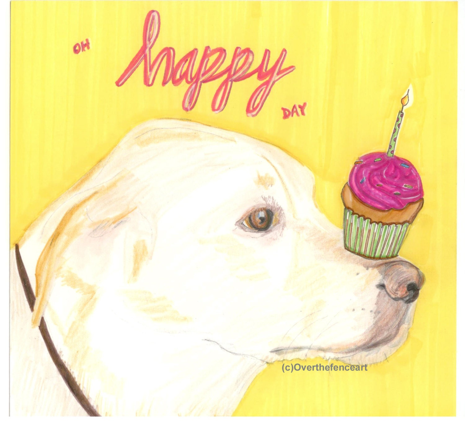 Dog birthday card labrador dog artanimal art labrador art zoom kristyandbryce Choice Image