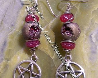 Druzy Pentacle Earrings