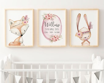 Woodland Nursery Prints | Forest Animal Wall Art | Floral Woodland Nursery Decor | Girls Birth Announcement Print | Nursery Print Set